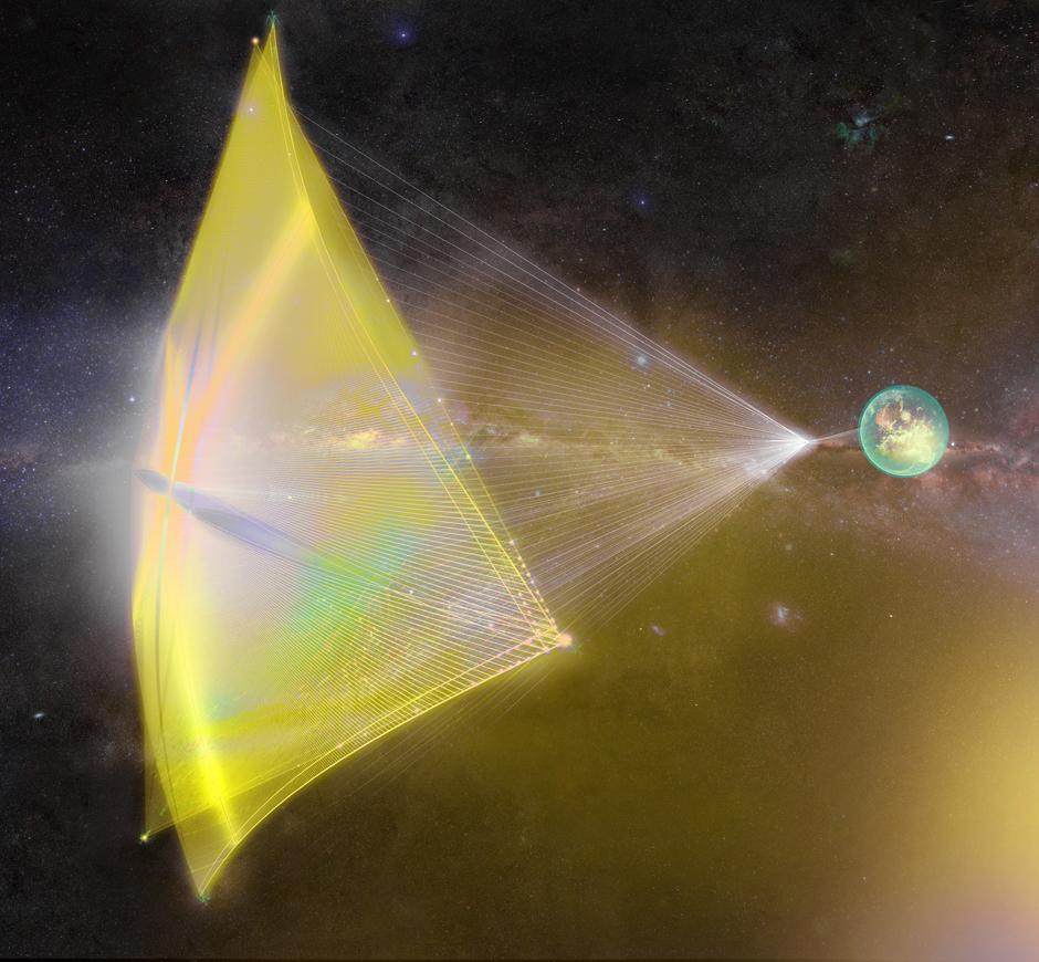 Konzept für das Raumschiff am Sonnensegel